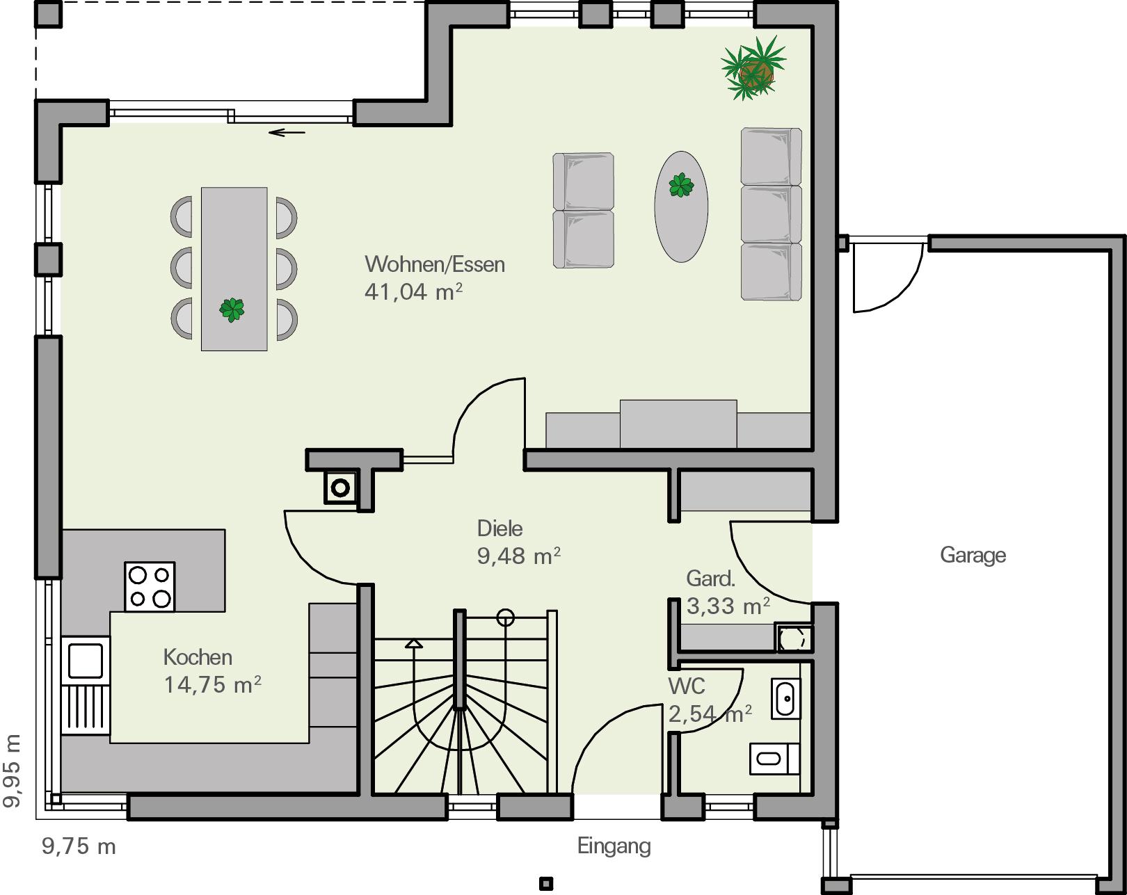 Kundenhaus familie ostermann zaunm ller massivhaus gmbh for Haus grundriss mit garage