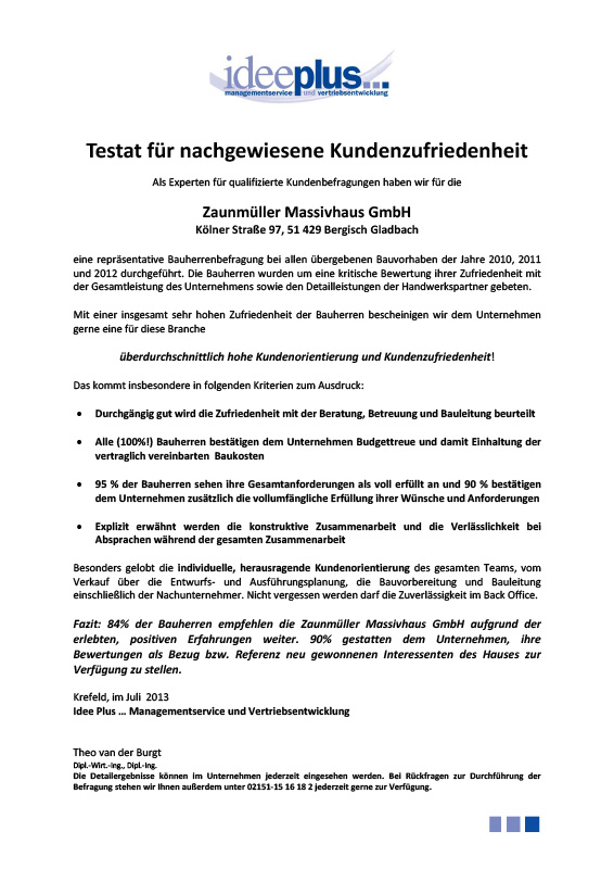 Testat Bauherrenreport 2013
